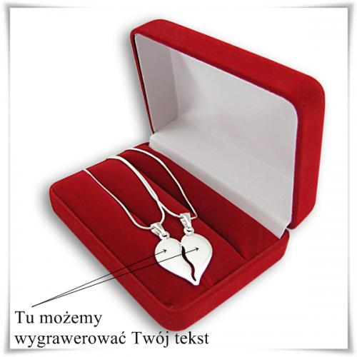 4e3417cb36ef4b Łamane serce dla dwojga + 2 srebrne łańcuszki, z grawerem - NeoCube